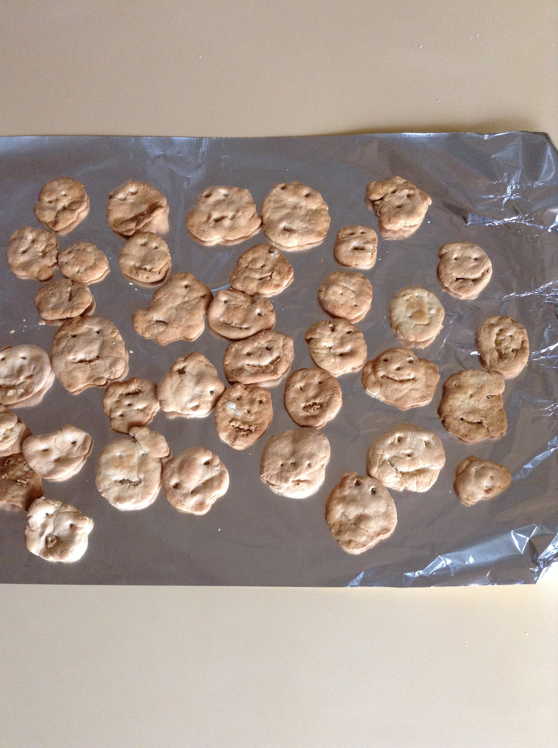 そして、材料を混ぜて生地に顔をかき・・・焼きあがったクッキーを見て 「わぁ、かわいい~」と大絶賛。様々な表情の愛嬌たっぷりのクッキーに仕上がりました。